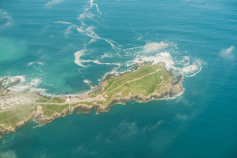 Headland near Fistral Beach. Image available from Simon Westwood of Fly-by-Light Photography.