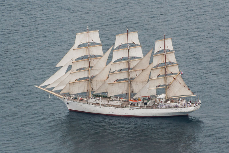 Polish Three-Masted Schooner 'DAR-MLODZIEZY'. Image available from Simon Westwood of Fly-by-Light Photography.