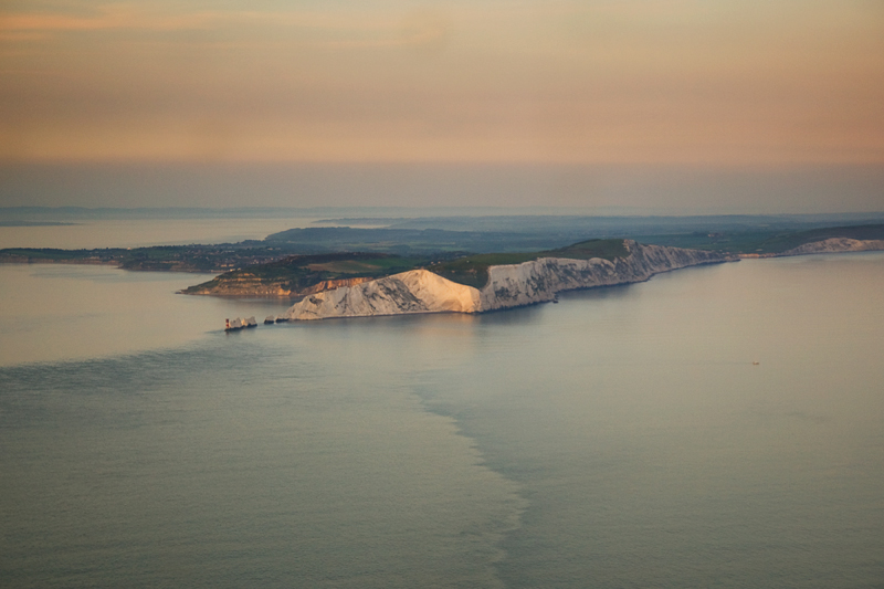 The Needles, Isle of Wight at dusk. Image available from Simon Westwood of Fly-by-Light Photography.