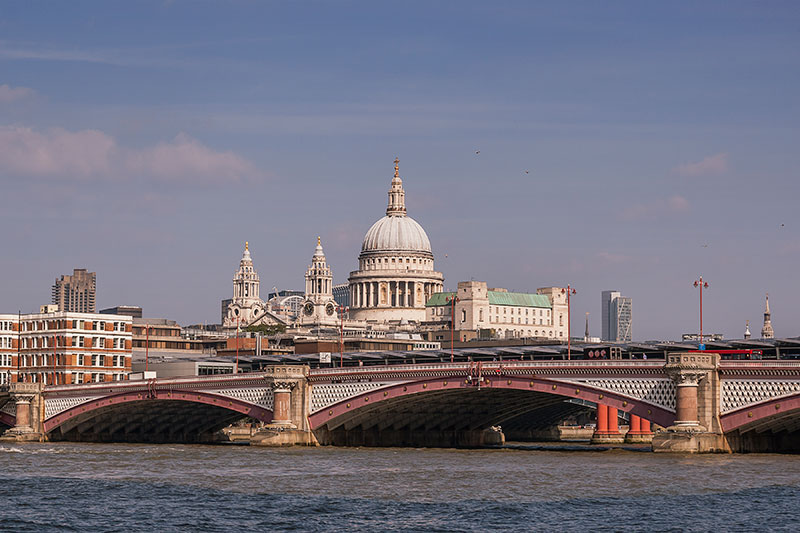 St Pauls Cathedral and Blackfriars Bridge, London. Image available from Simon Westwood of Fly-by-Light Photography.