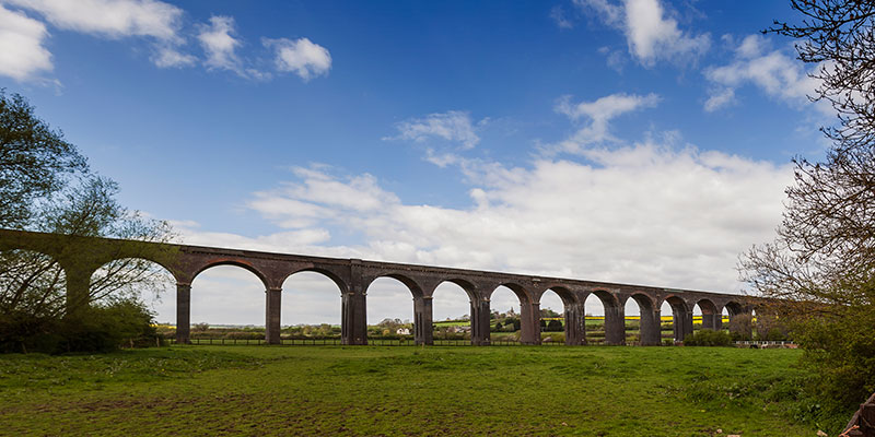 Harringworth Viaduct from ground level. Image available from Simon Westwood of Fly-by-Light Photography.