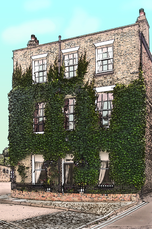 Ely Townhouse, Cambridgeshire - Pen and wash. Image available from Simon Westwood of Fly-by-Light Photography.