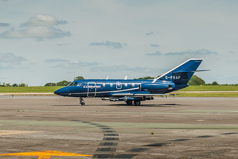 Dassault Falcon 20DC G-FRAF. Image available from Simon Westwood of Fly-by-Light Photography.