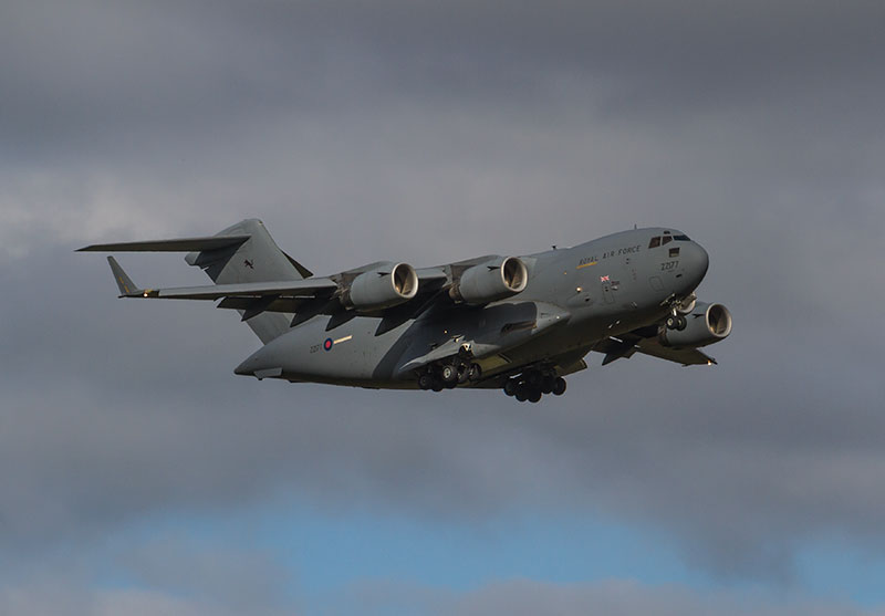 Royal Air Force Boeing C-17 Globemaster III. Image available from Simon Westwood of Fly-by-Light Photography.