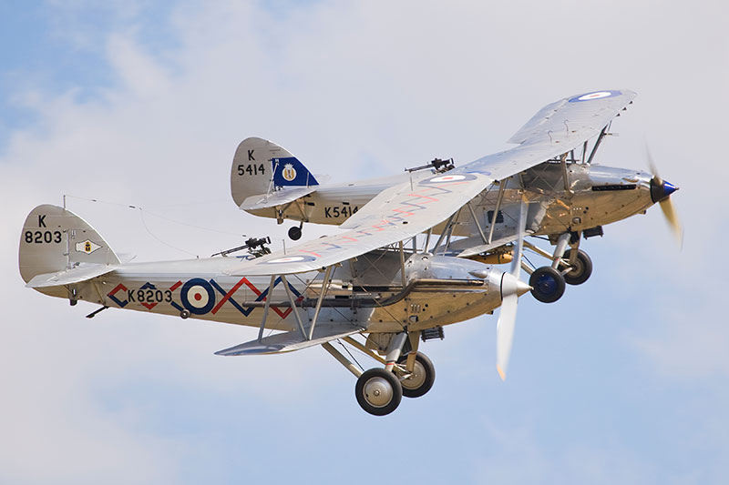 Hawker Demon and Hawker Hart. Image available from Simon Westwood of Fly-by-Light Photography.