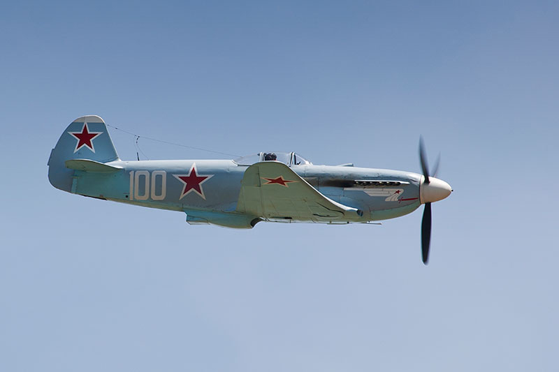 Yakolev Yak-3, 'White 100'. Image available from Simon Westwood of Fly-by-Light Photography.