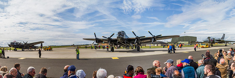 Two Lancasters and the Vulcan. Image available from Simon Westwood of Fly-by-Light Photography.