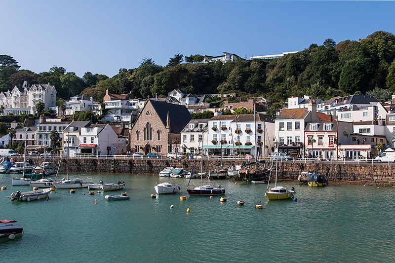 St Aubin's Harbour and seafront.. Image available from Simon Westwood of Fly-by-Light Photography.