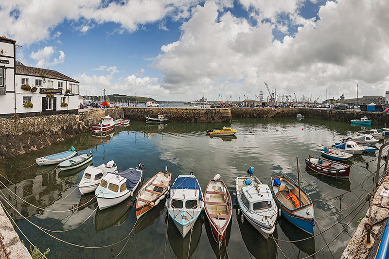 Falmouth Harbour Waterfront. Image available from Simon Westwood of Fly-by-Light Photography.