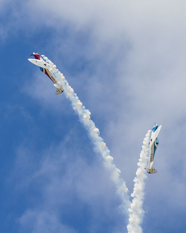 SWIP Aerobatic Team - Vertical Break. Image available from Simon Westwood of Fly-by-Light Photography.