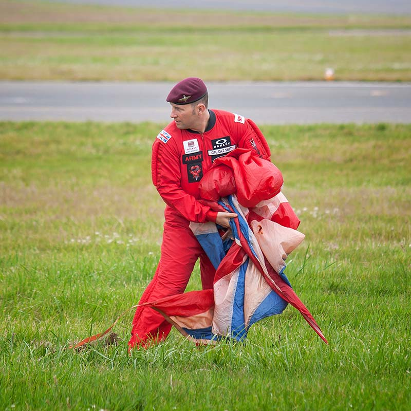 'Red Devils' Parachutist. Image available from Simon Westwood of Fly-by-Light Photography.