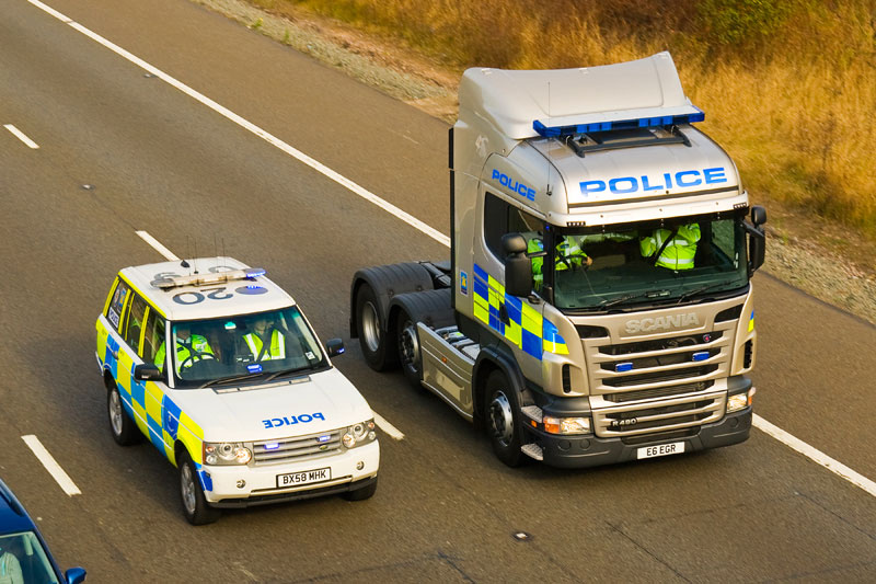 Centra Motorway Police Group Range-Rover & Scania. Image available from Simon Westwood of Fly-by-Light Photography.