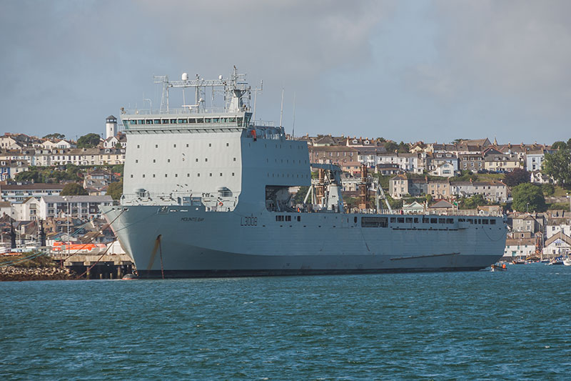 RFA Mounts Bay. Image available from Simon Westwood of Fly-by-Light Photography.