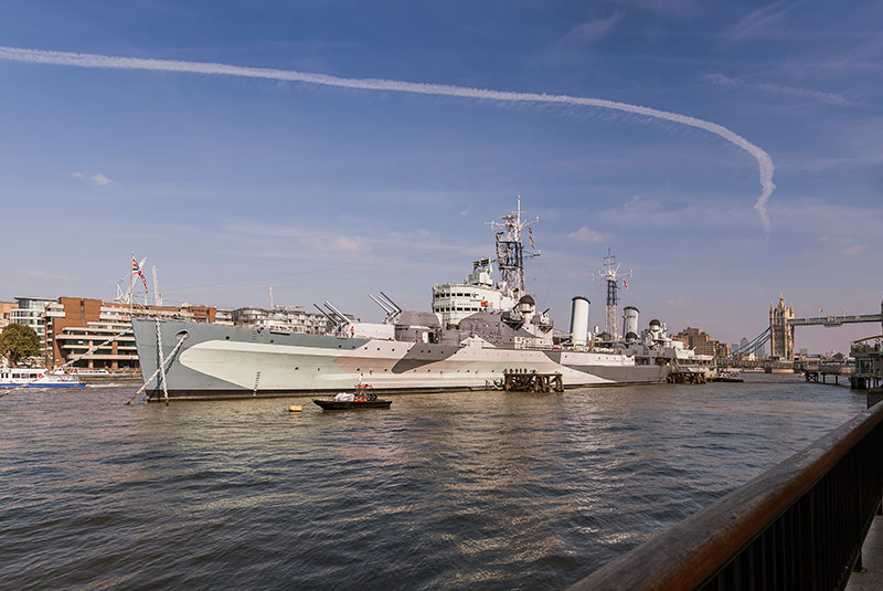 HMS Belfast - Pool of London. Image available from Simon Westwood of Fly-by-Light Photography.