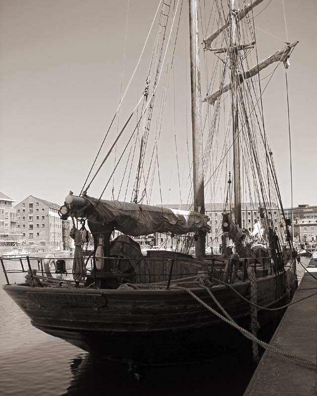 Sailing ship dockside at Gloucester. Image available from Simon Westwood of Fly-by-Light Photography.