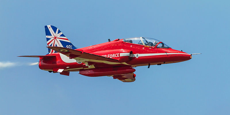Red Arrows 2014 Anniversary Colours. Image available from Simon Westwood of Fly-by-Light Photography.